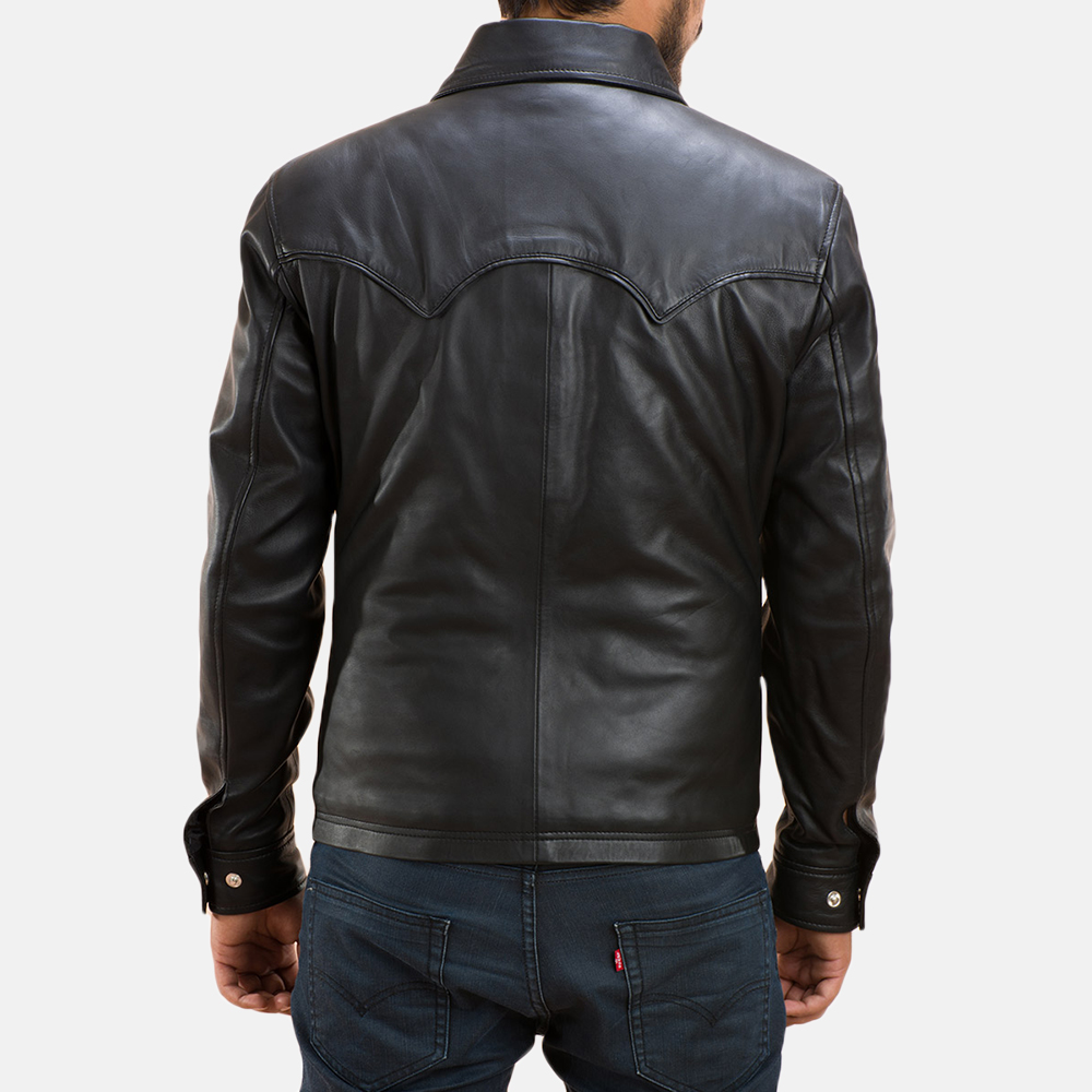 Mens Ranchson Black Leather Shirt 5