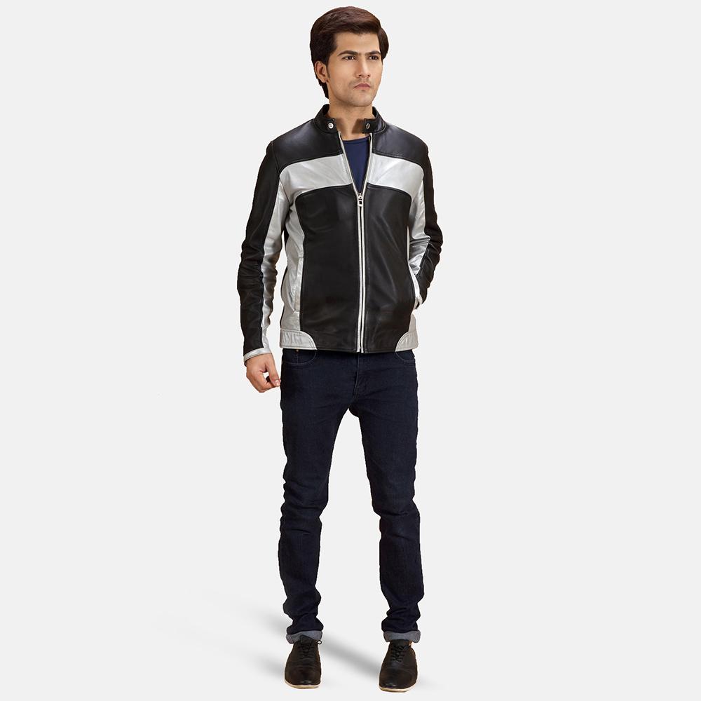 Mens Randolf Silver Black Leather Biker Jacket 1