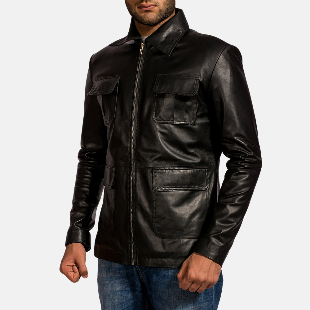 Mens Raven Black Leather Jacket 3
