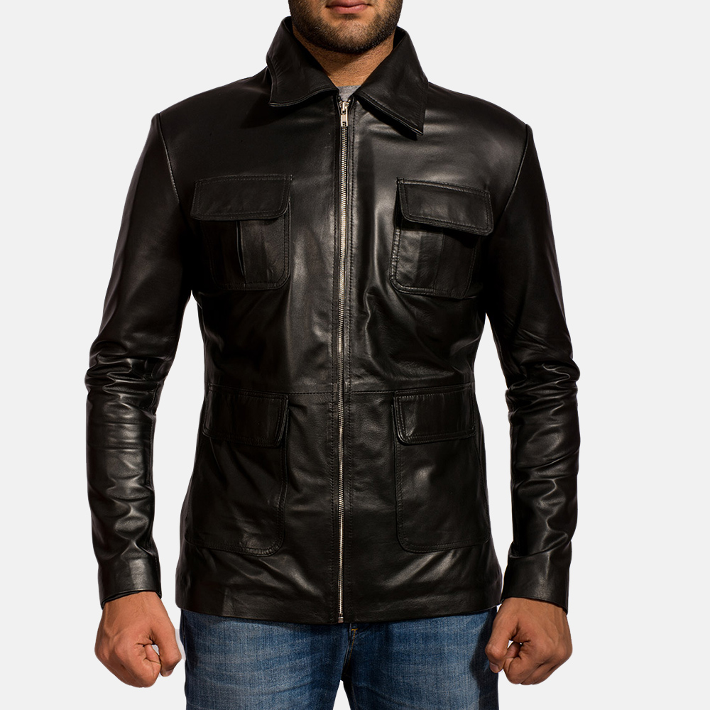 Mens Raven Black Leather Jacket 1