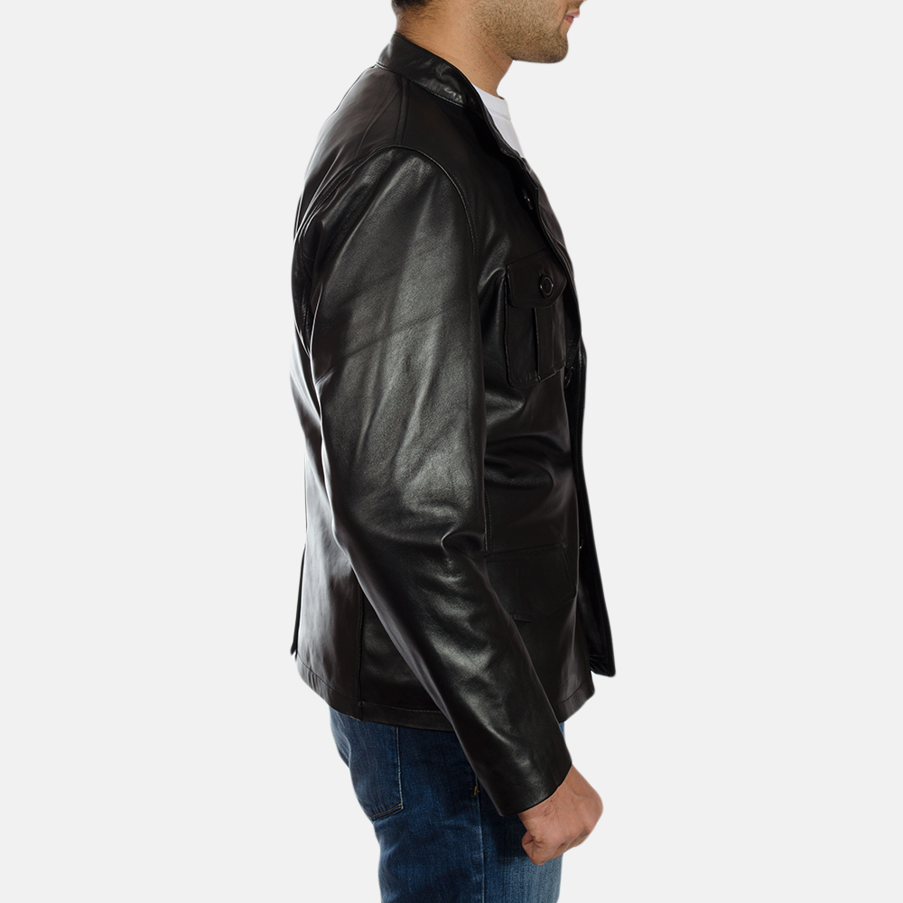 Mens Ray Cutler Black Leather Blazer 4