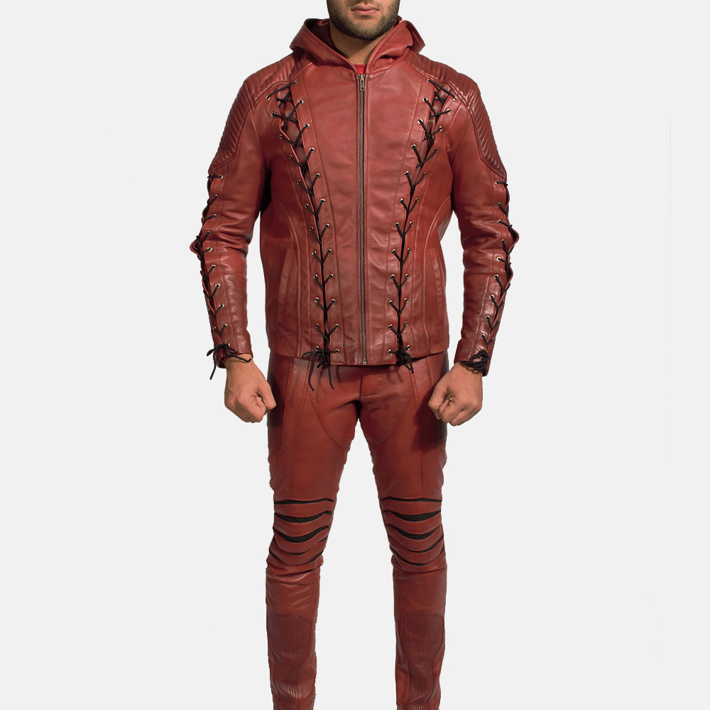 Mens Red Hooded Leather Costume 4