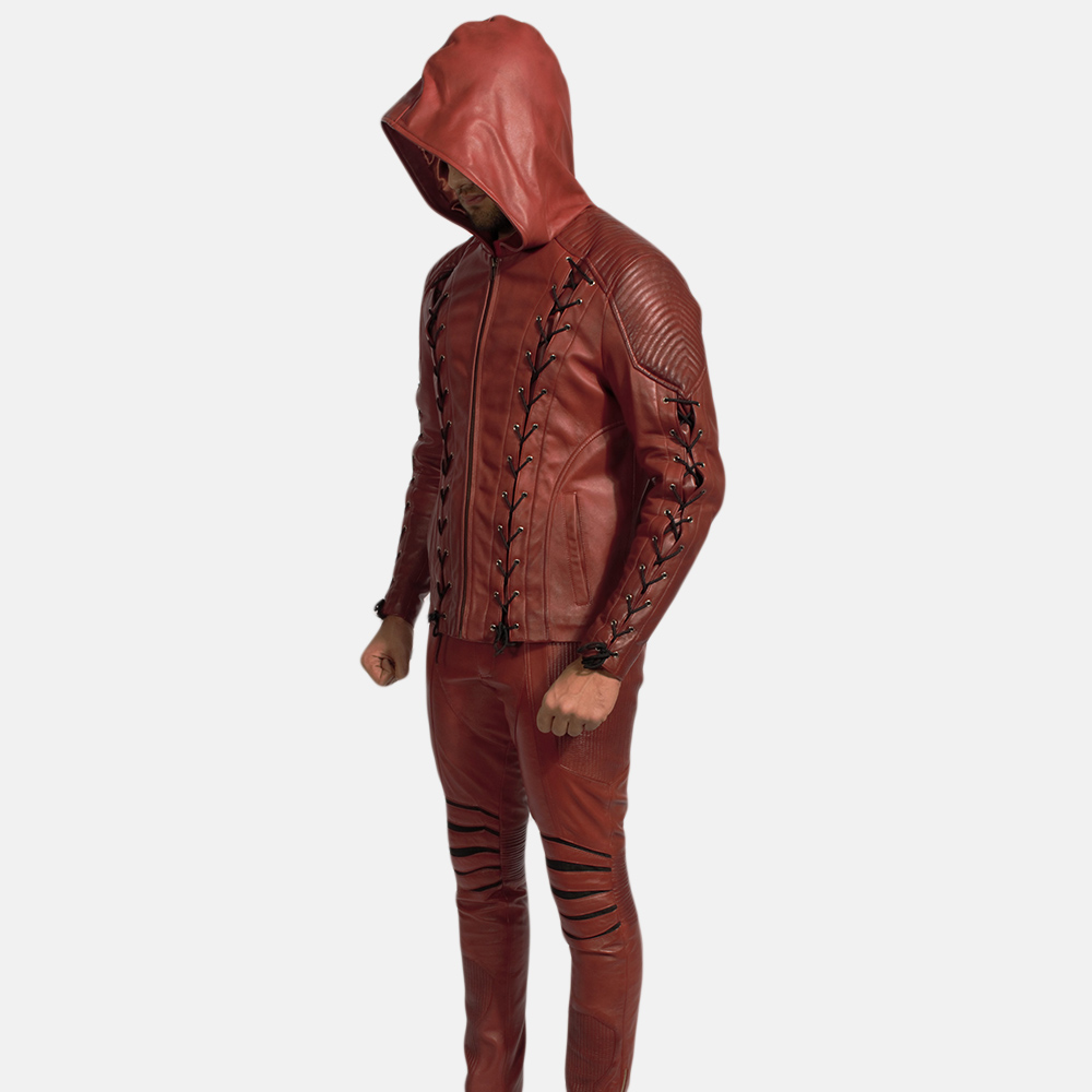 Mens Red Hooded Leather Costume 2
