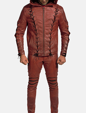Mens Red Hooded Leather Costume