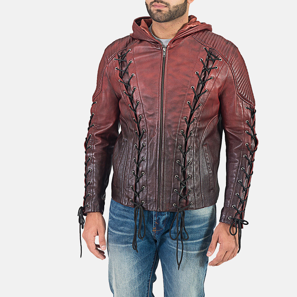 Mens Red Hooded Leather Jacket 2