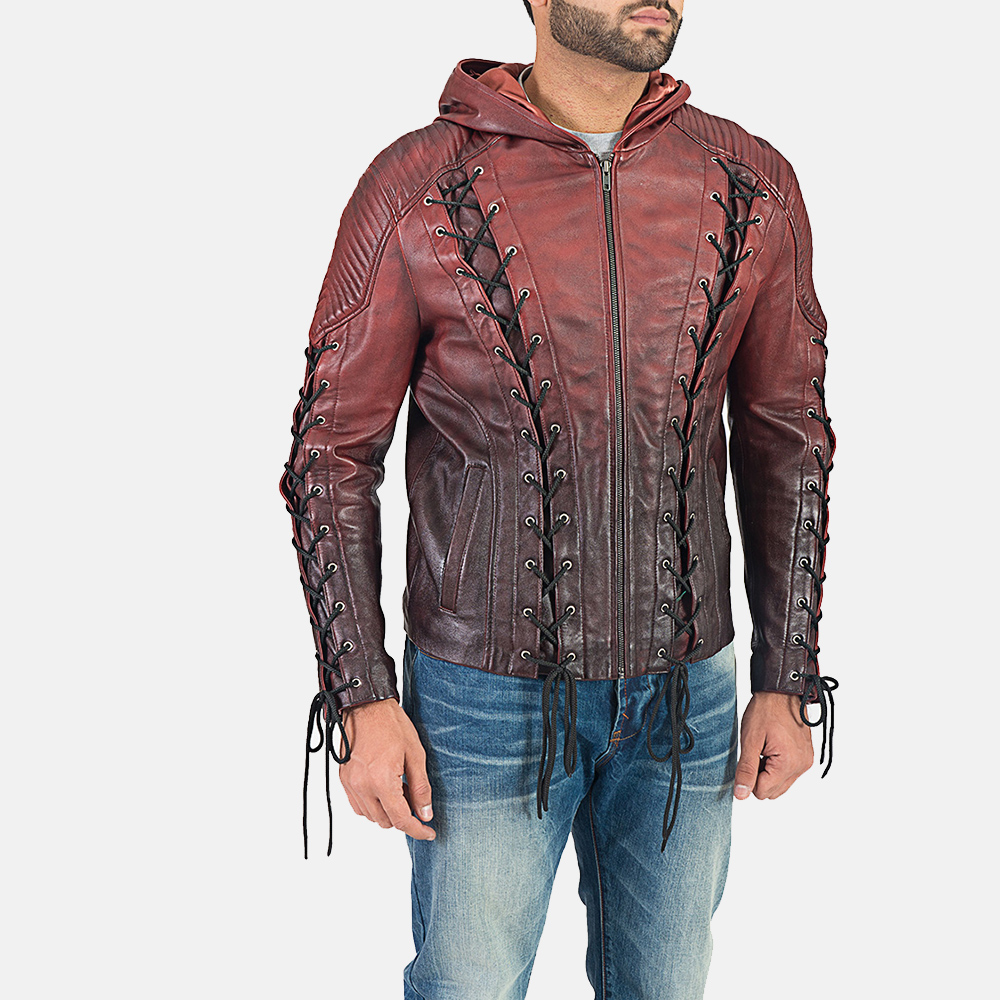Mens Red Hooded Leather Jacket 3
