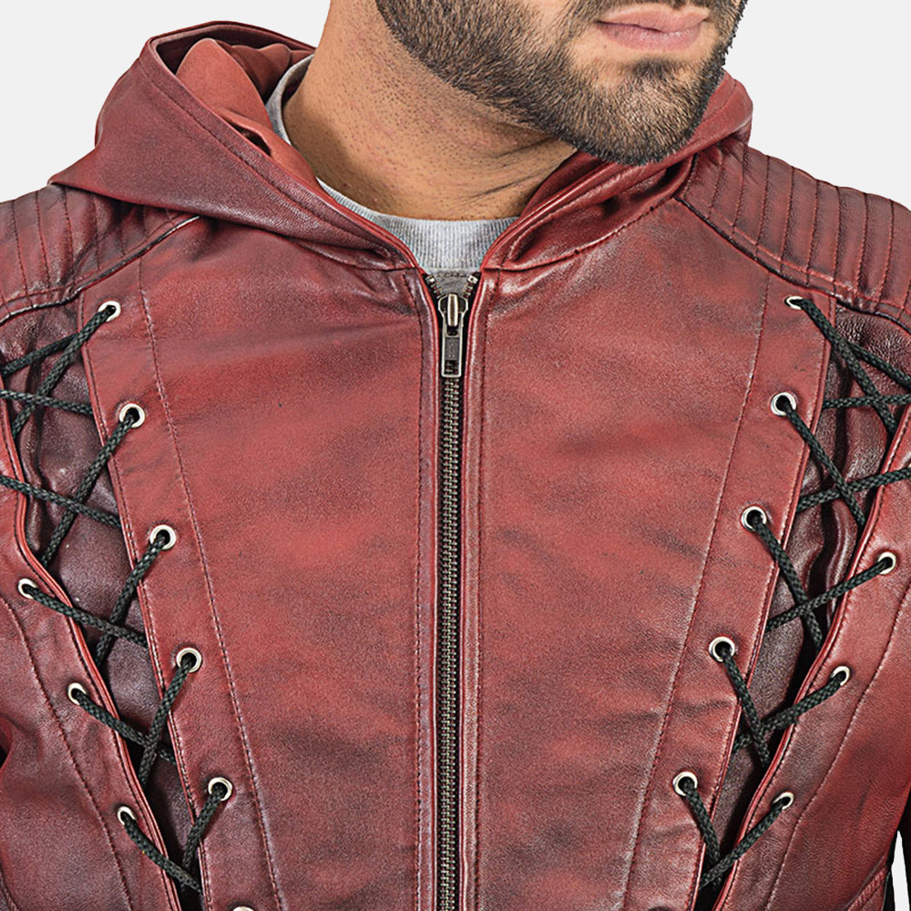 Mens Red Hooded Leather Jacket 4