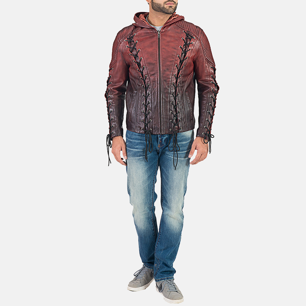 Mens Red Hooded Leather Jacket 1
