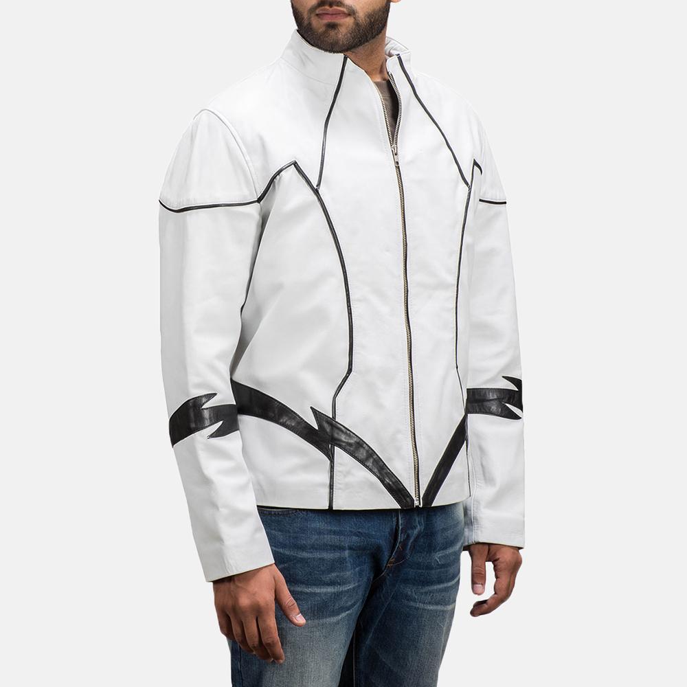 Mens Roboguy White Leather Jacket 2