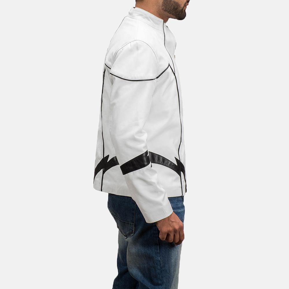 Mens Roboguy White Leather Jacket 3