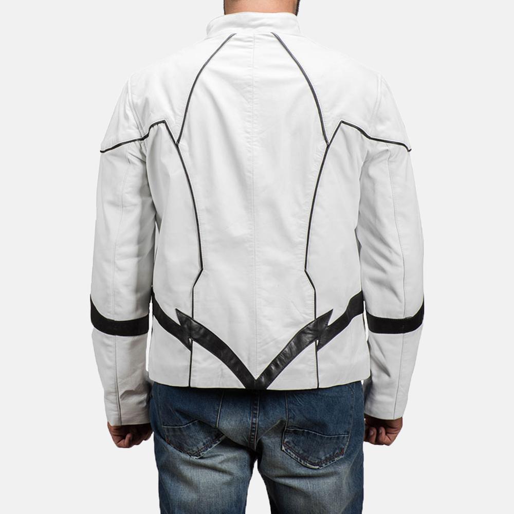 Mens Roboguy White Leather Jacket 5