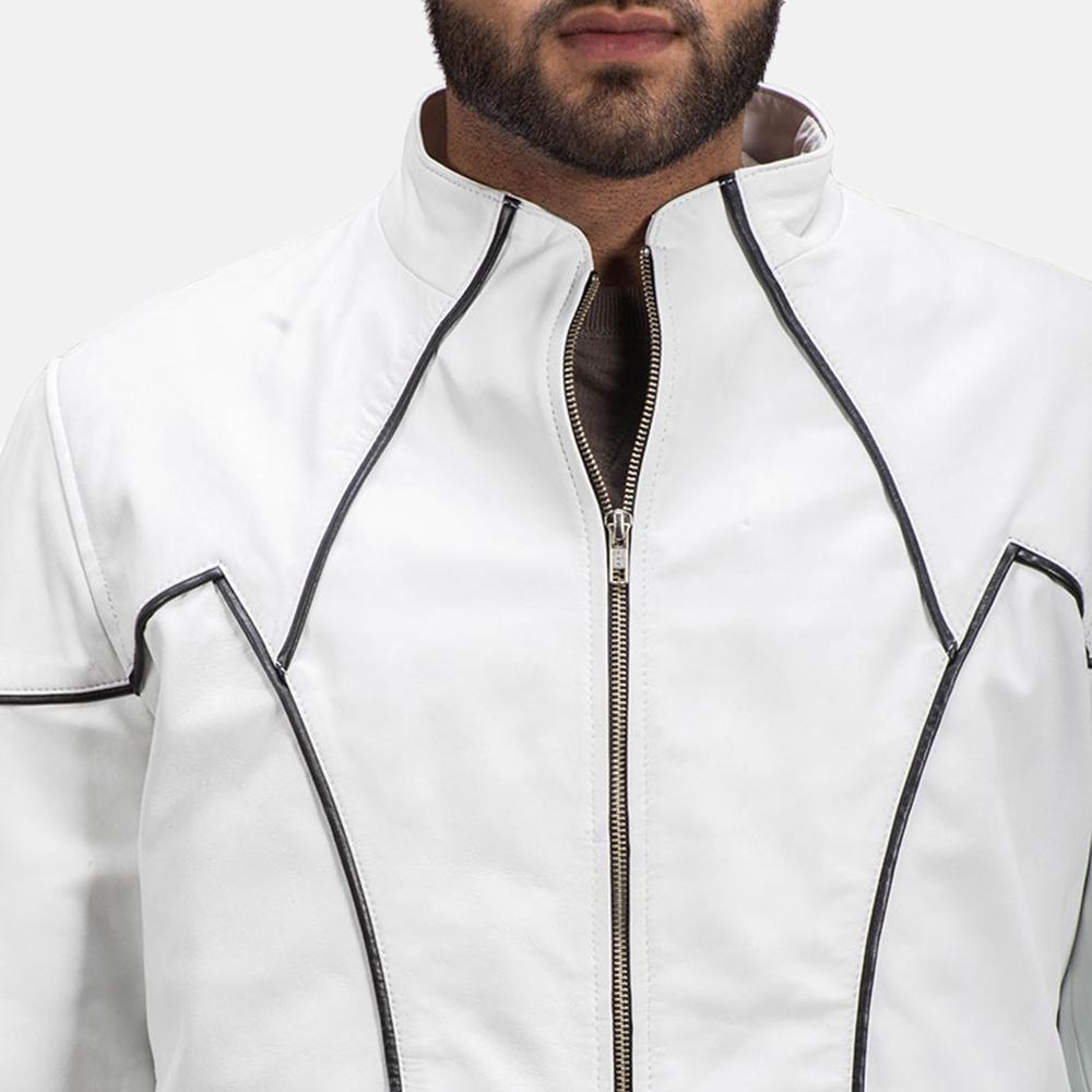 Mens Roboguy White Leather Jacket 4
