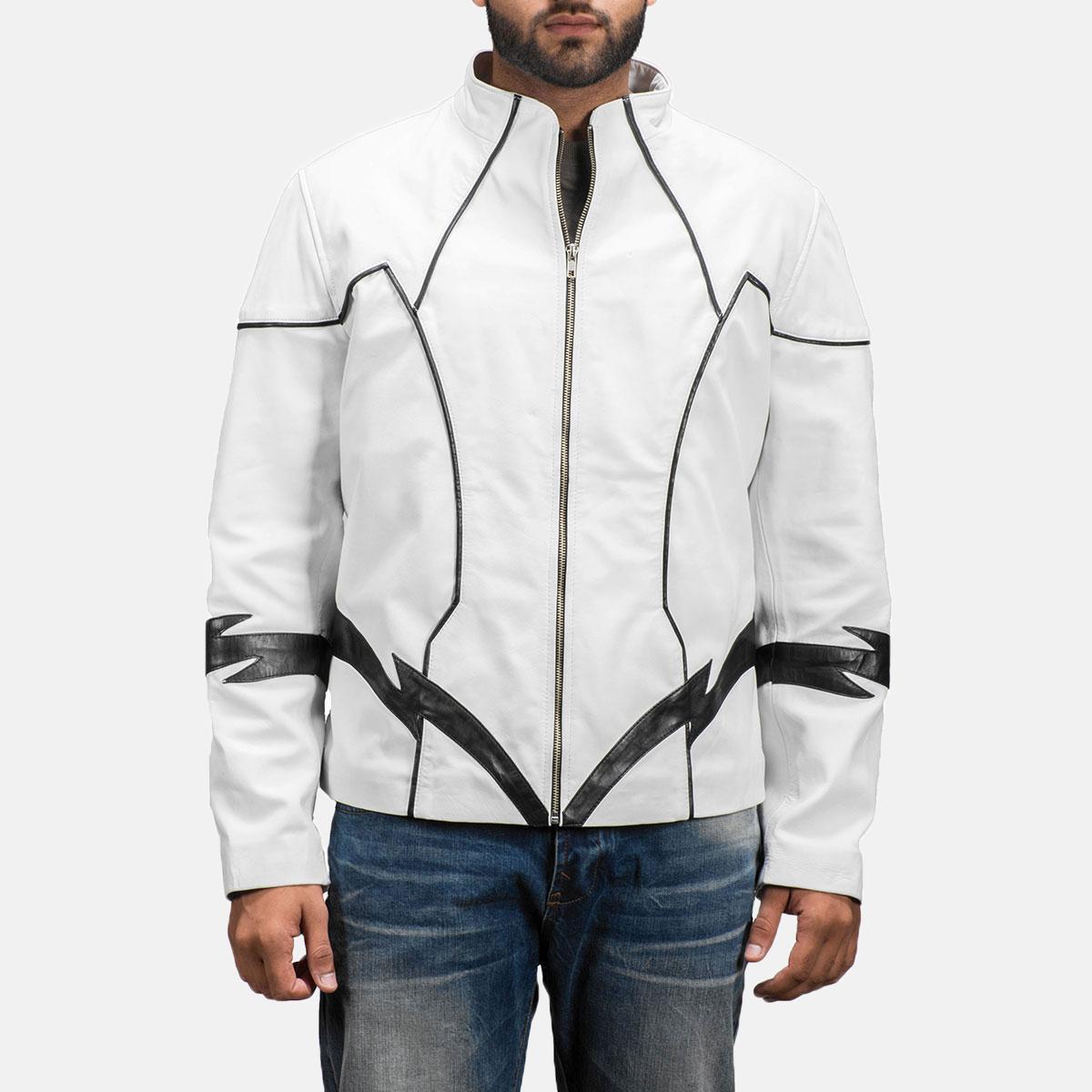 Mens Roboguy White Leather Jacket 1