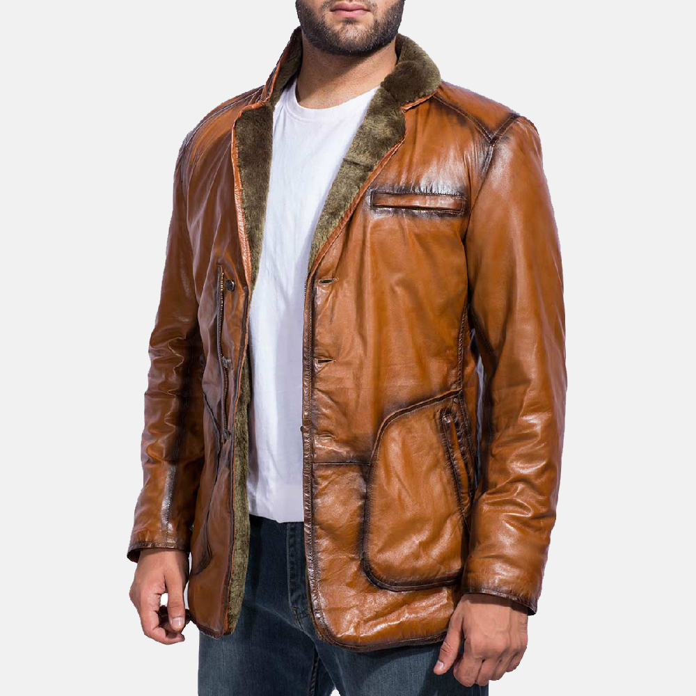 Mens Rocky Brown Fur Leather Coat 2