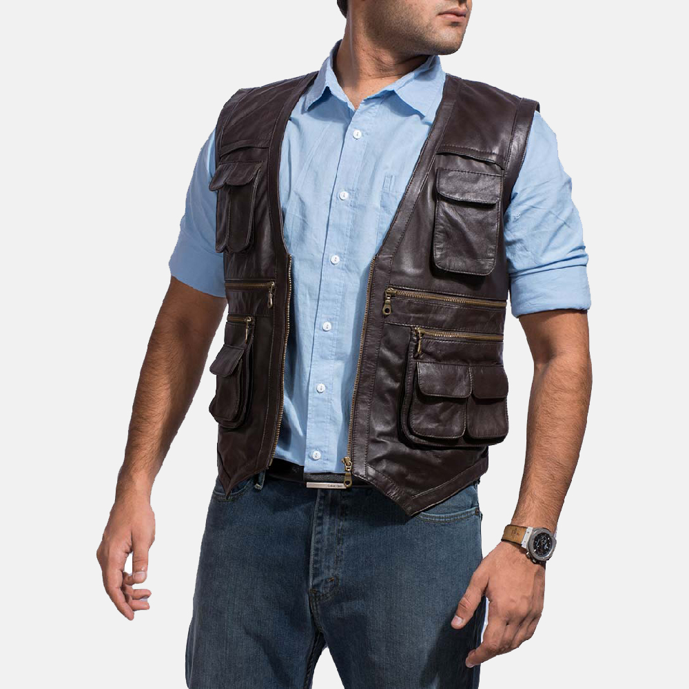 Mens Safari Brown Leather Vest 3