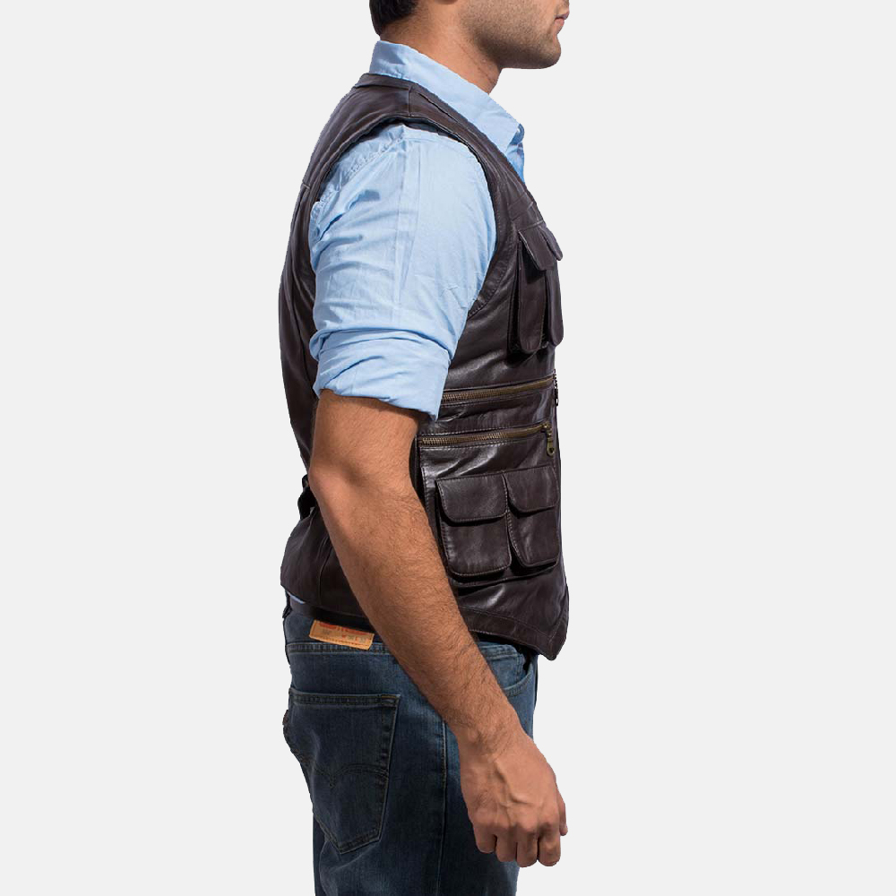 Mens Safari Brown Leather Vest 2