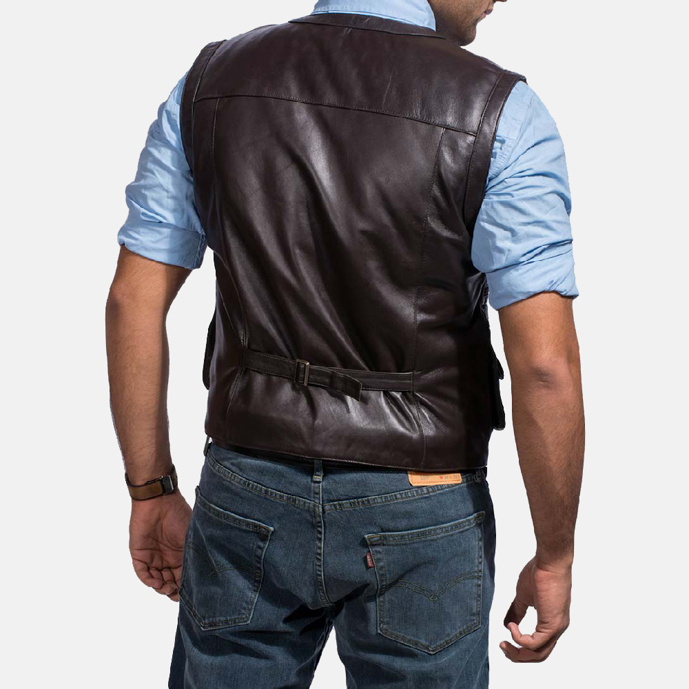 Mens Safari Brown Leather Vest 4