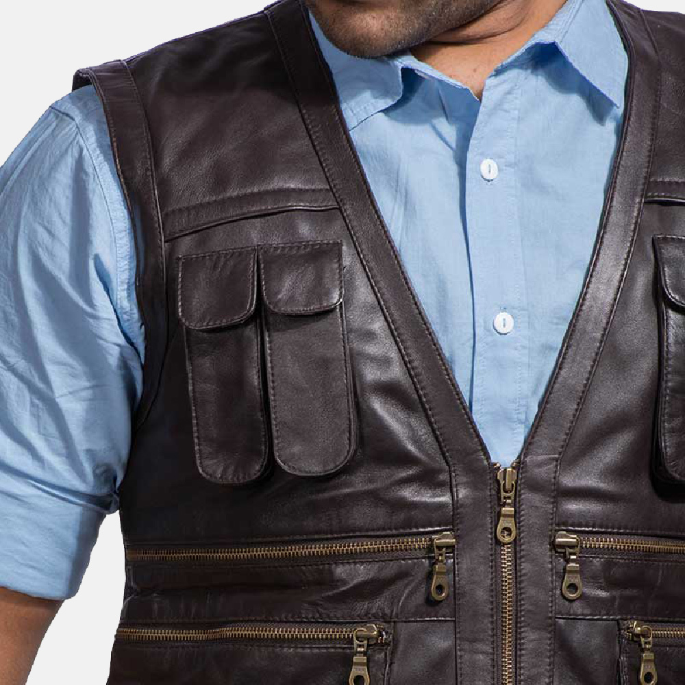 Very Mens Safari Brown Leather Vest TA99