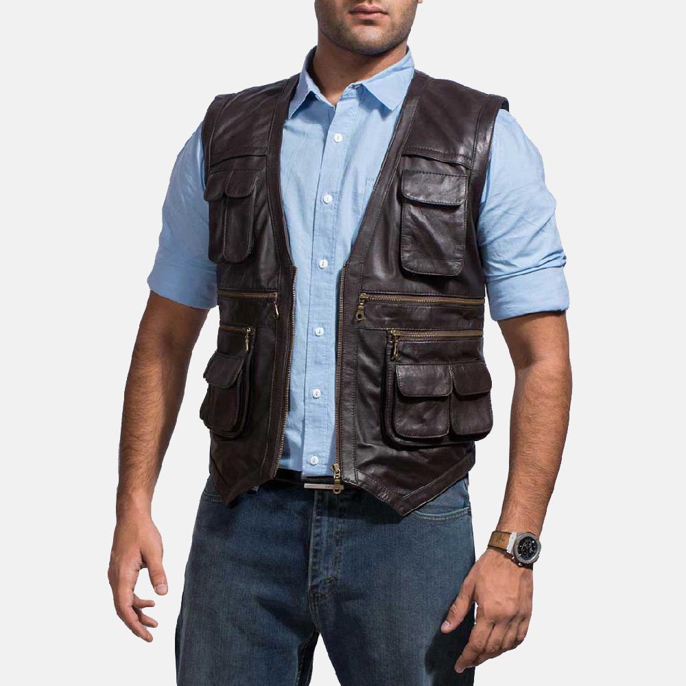 Mens Safari Brown Leather Vest 1