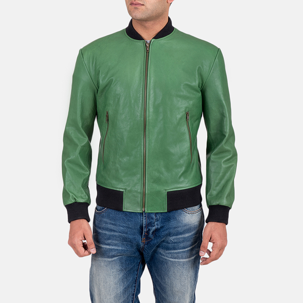 Mens Shane Green Bomber Jacket 1