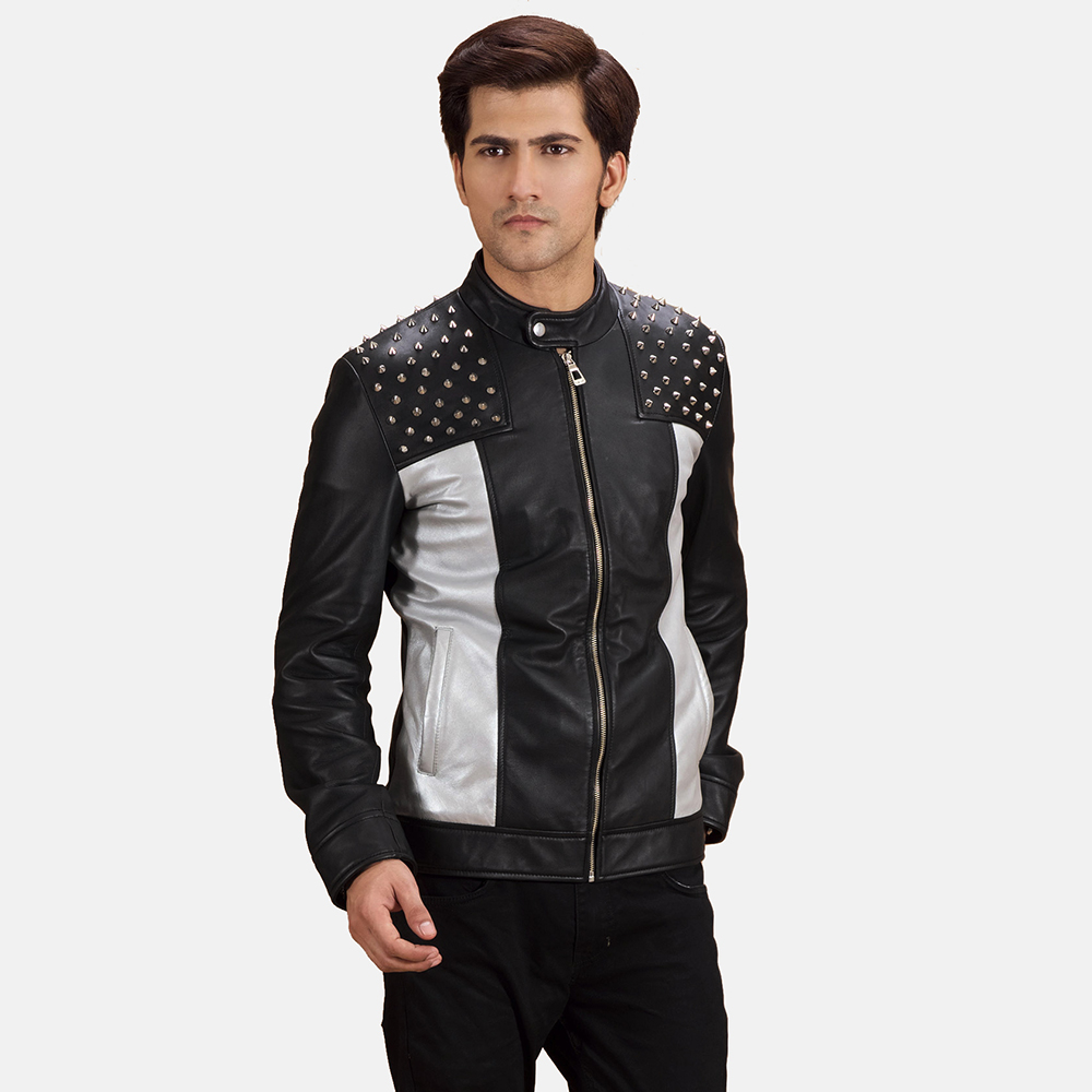 Mens Shapron Studded Leather Biker Jacket 1