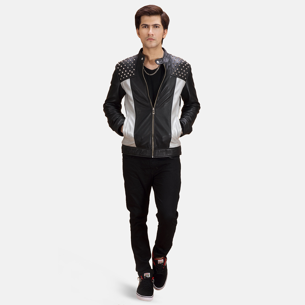 Mens Shapron Studded Leather Biker Jacket 1