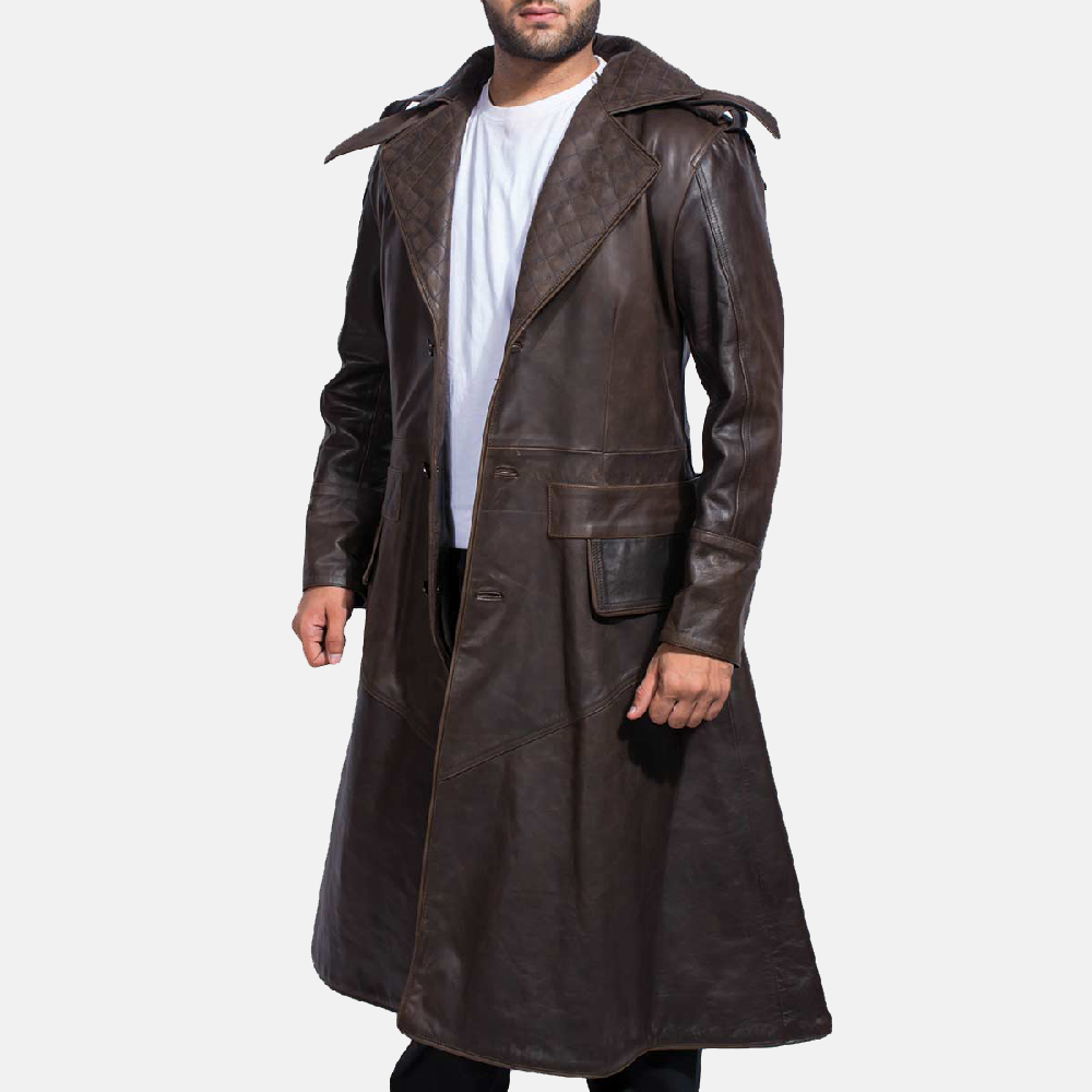 Mens Sledgehammer Brown Leather Trench Coat 3