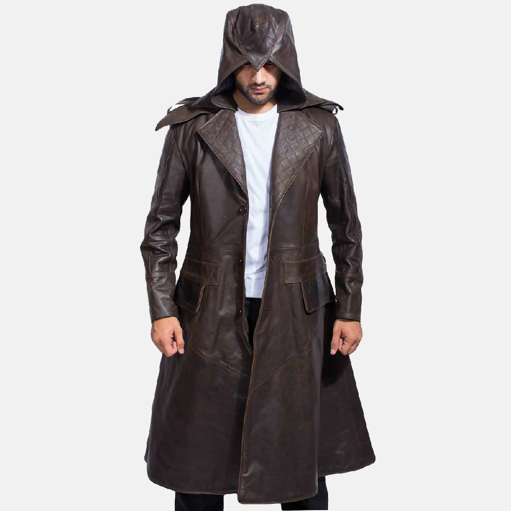 Mens Sledgehammer Brown Leather Trench Coat