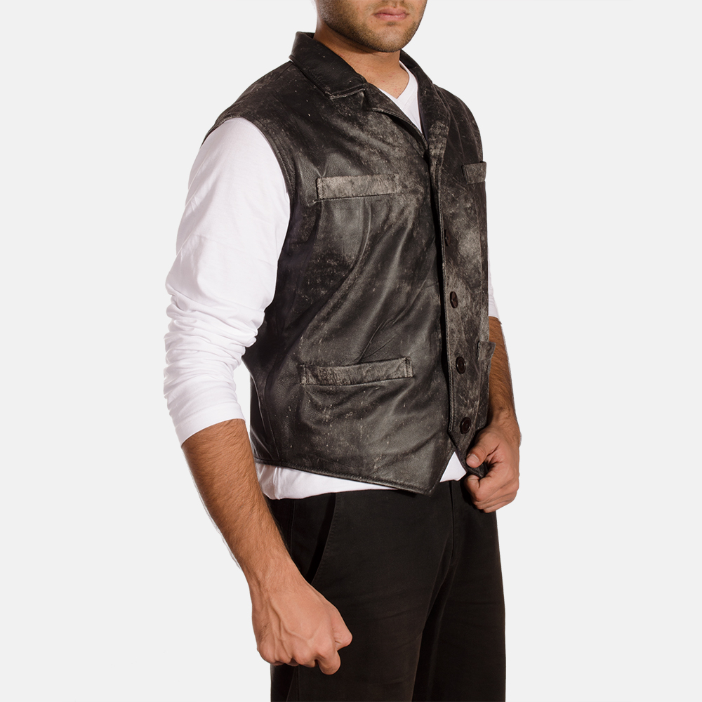 Mens Solaride Distressed Leather Vest 2