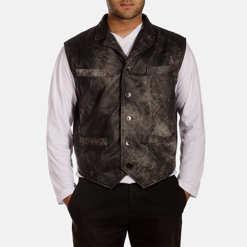 Mens Solaride Distressed Leather Vest 1