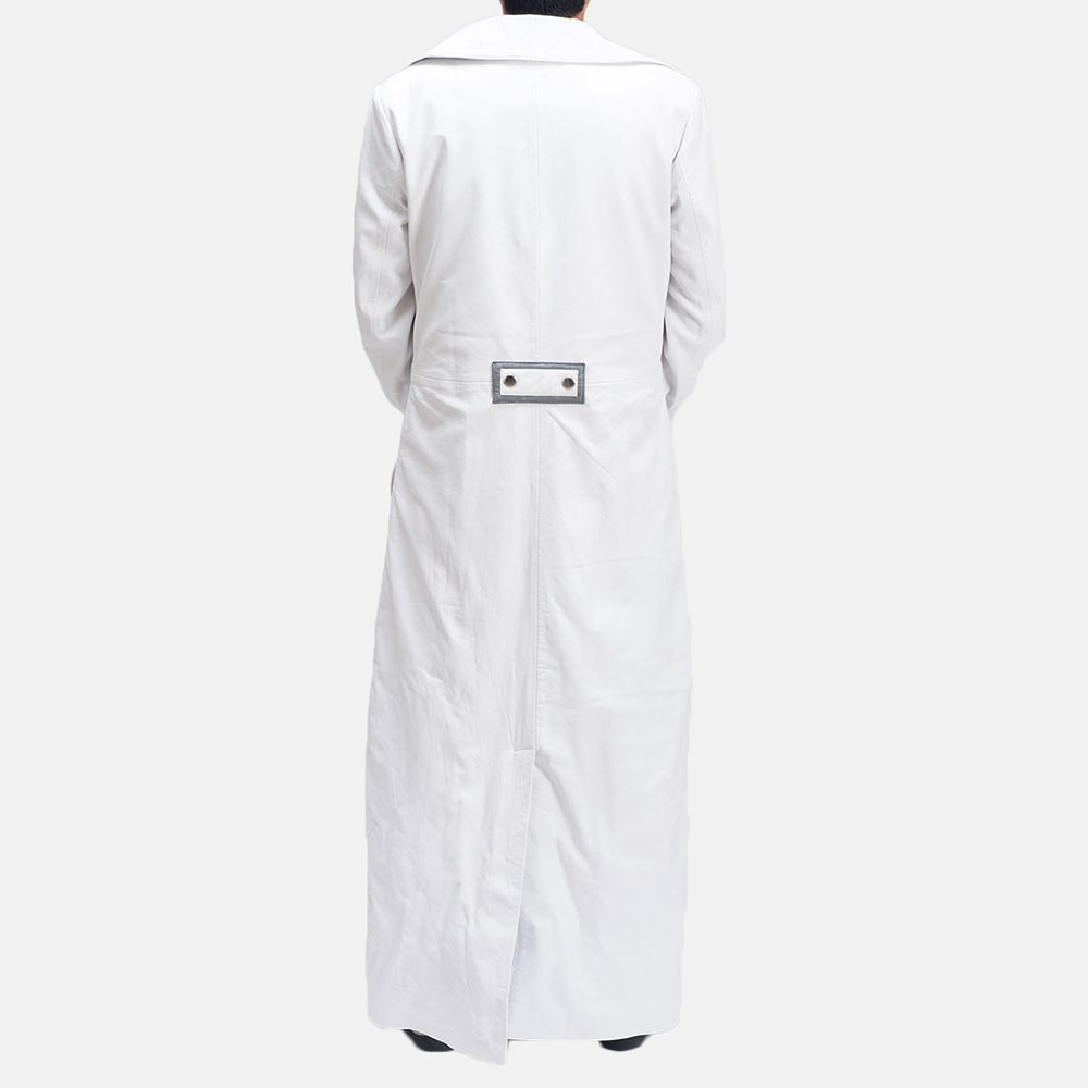 Mens Space Age White Leather Coat 3