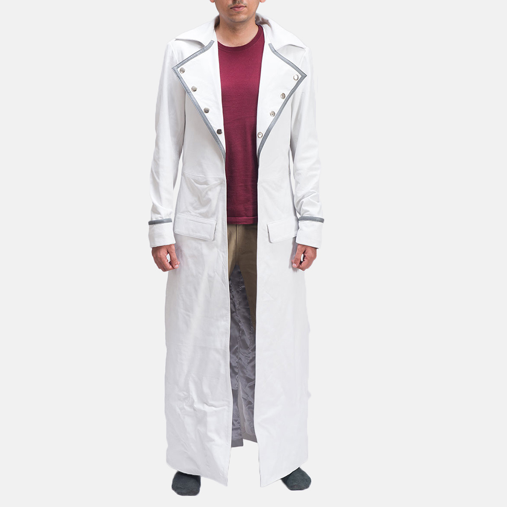 Mens Space Age White Leather Coat 1