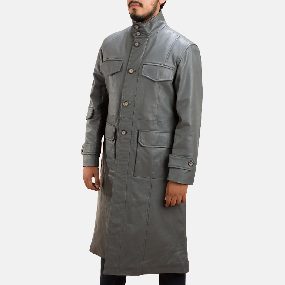 Mens Steel Silver Leather Long Coat 2