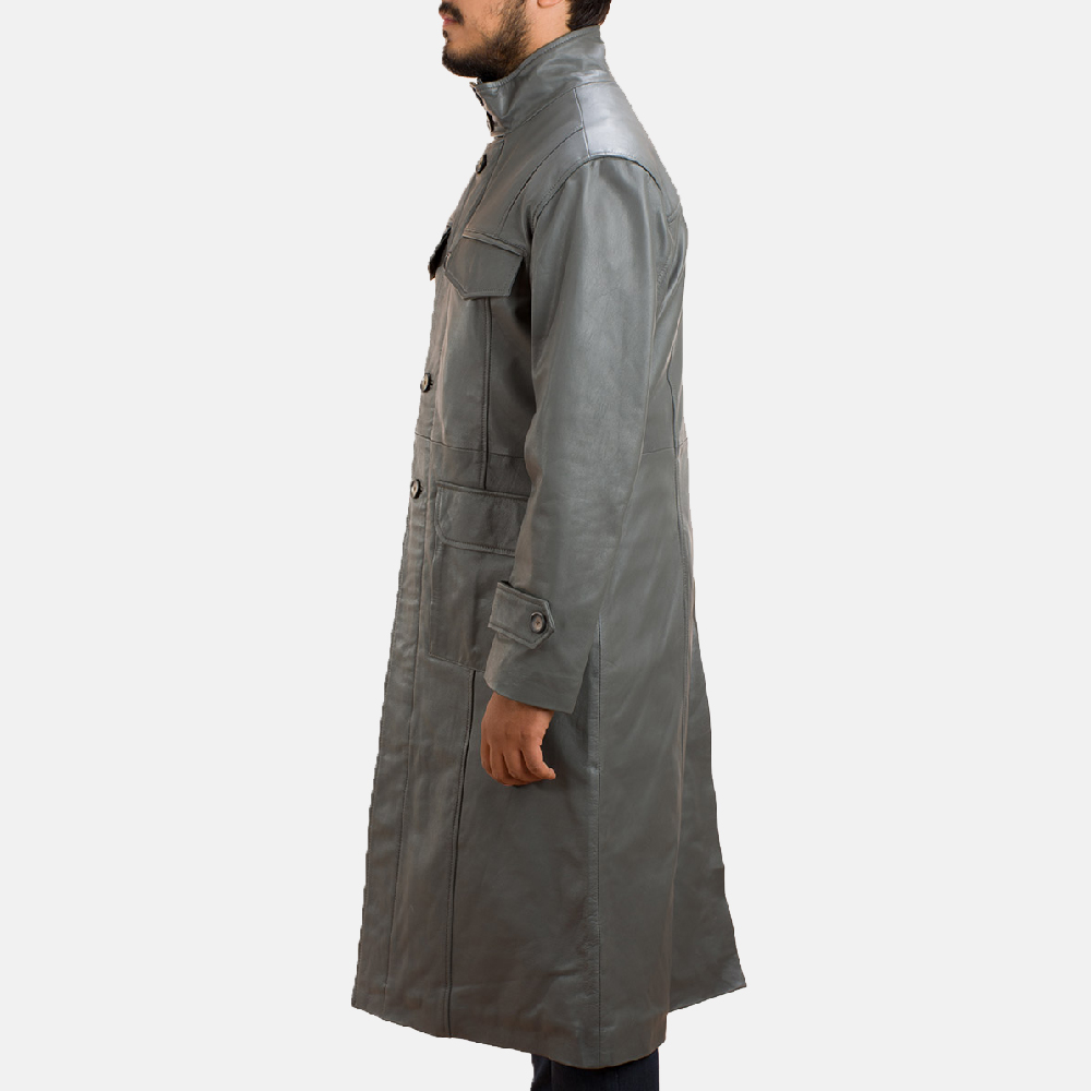 Mens Steel Silver Leather Long Coat 3