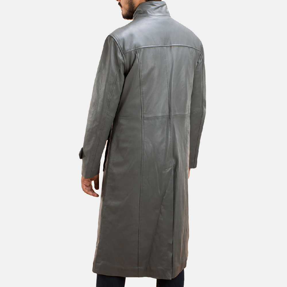 Mens Steel Silver Leather Long Coat 4