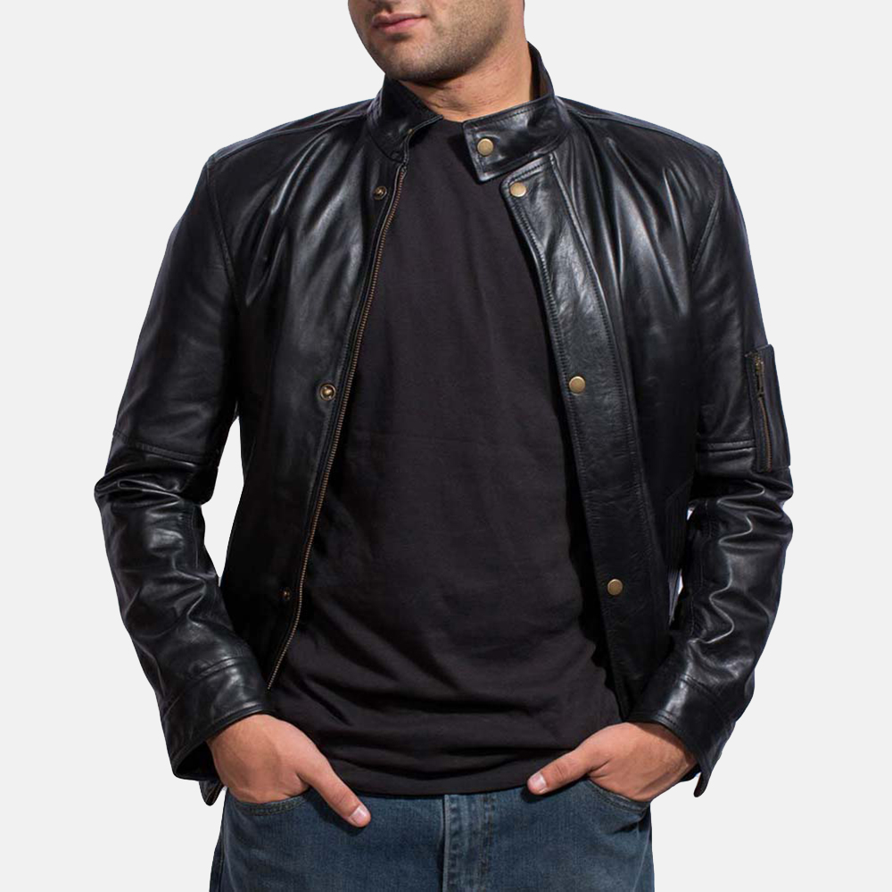 Mens Tea House Black Leather Jacket 2