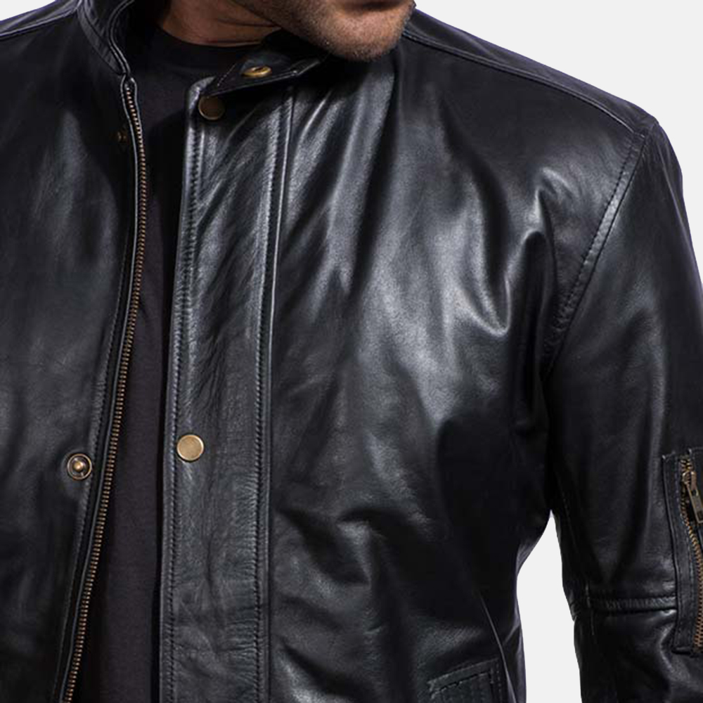 Mens Tea House Black Leather Jacket 3