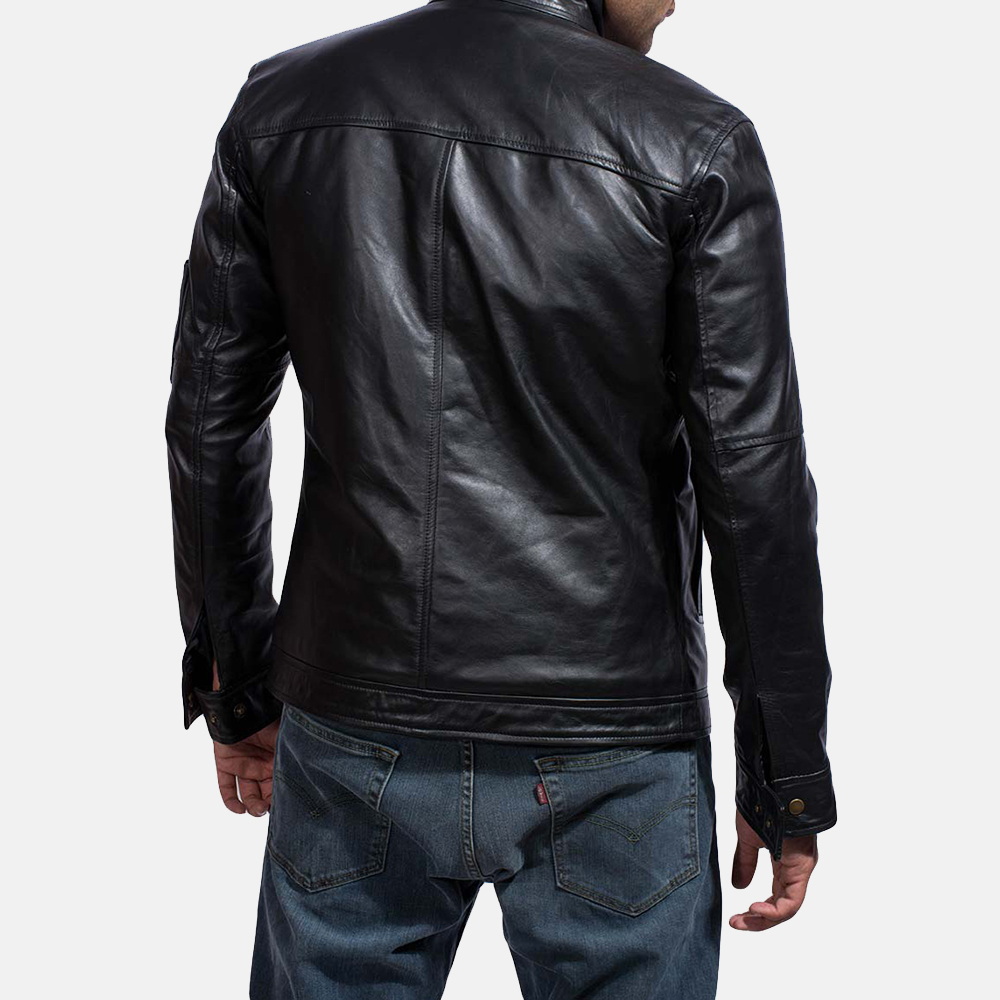 Mens Tea House Black Leather Jacket 5