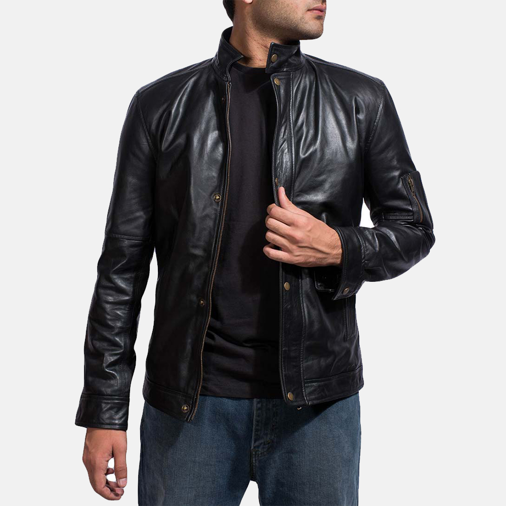Mens Tea House Black Leather Jacket 1
