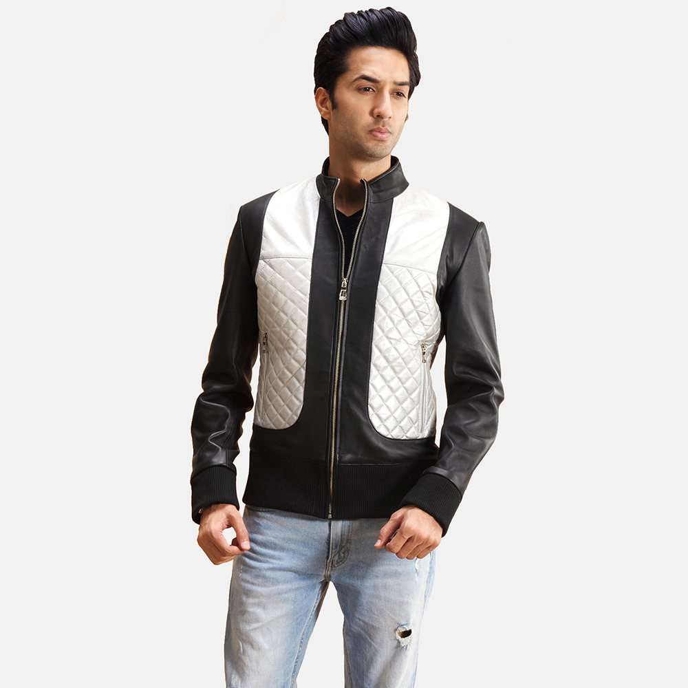 Mens Texan Silver Black Leather Bomber Jacket 1