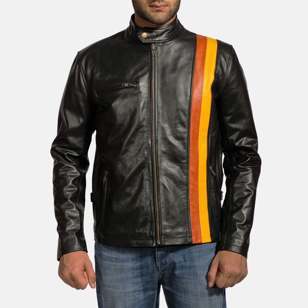Mens Titan Black Leather Biker Jacket 1