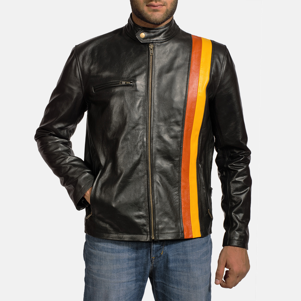 Mens Titan Black Leather Biker Jacket 2