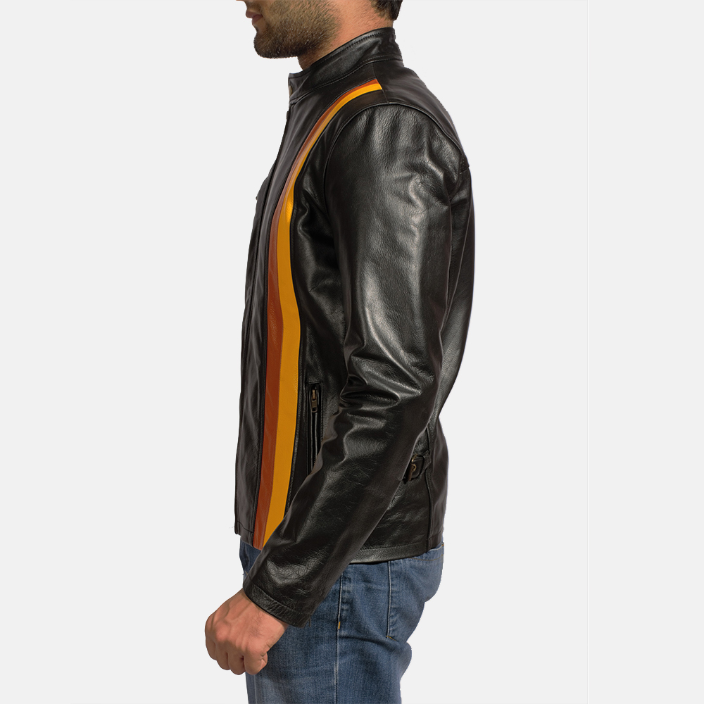 Mens Titan Black Leather Biker Jacket 3