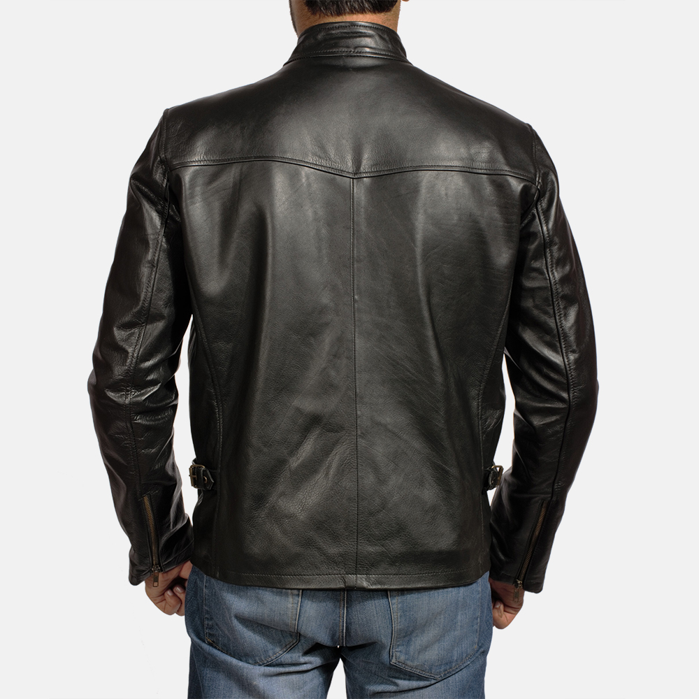 Mens Titan Black Leather Biker Jacket 5