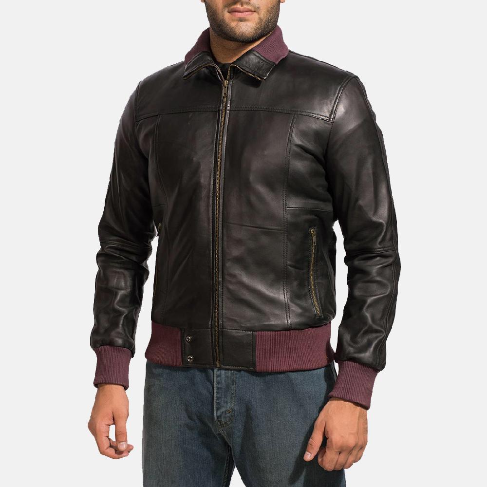 Mens Upscale Black Leather Bomber Jacket 2