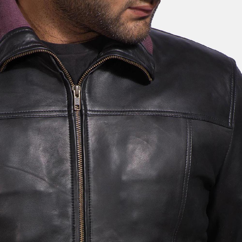 Mens Upscale Black Leather Bomber Jacket 5