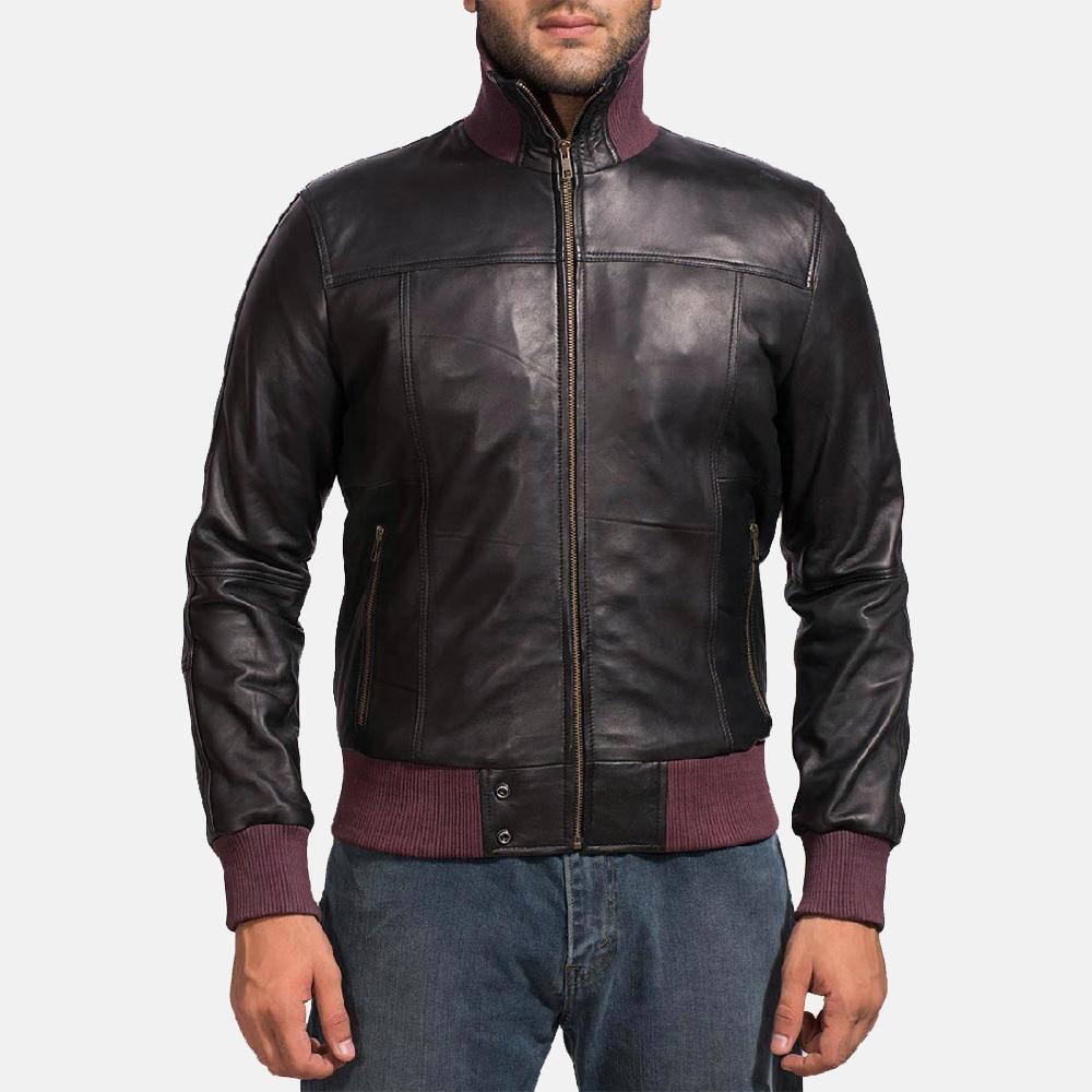 Mens Upscale Black Leather Bomber Jacket 1