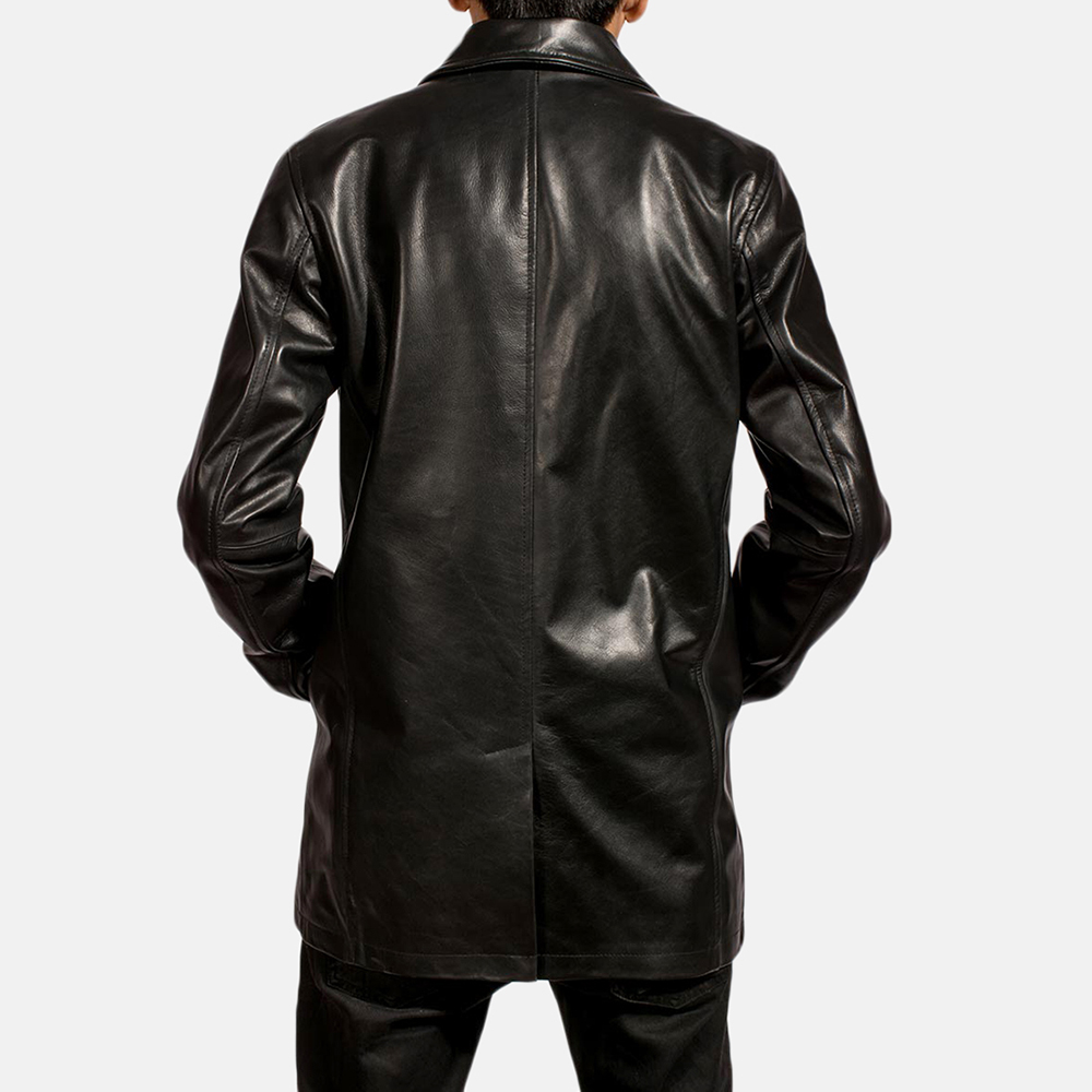 Mens Urban Slate Black Leather Coat 3