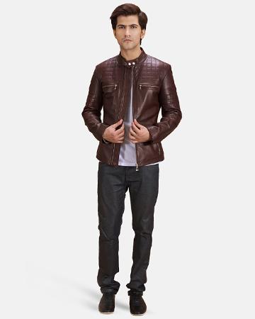 Mens Urbane Quilted Maroon Leather Biker Jacket 1
