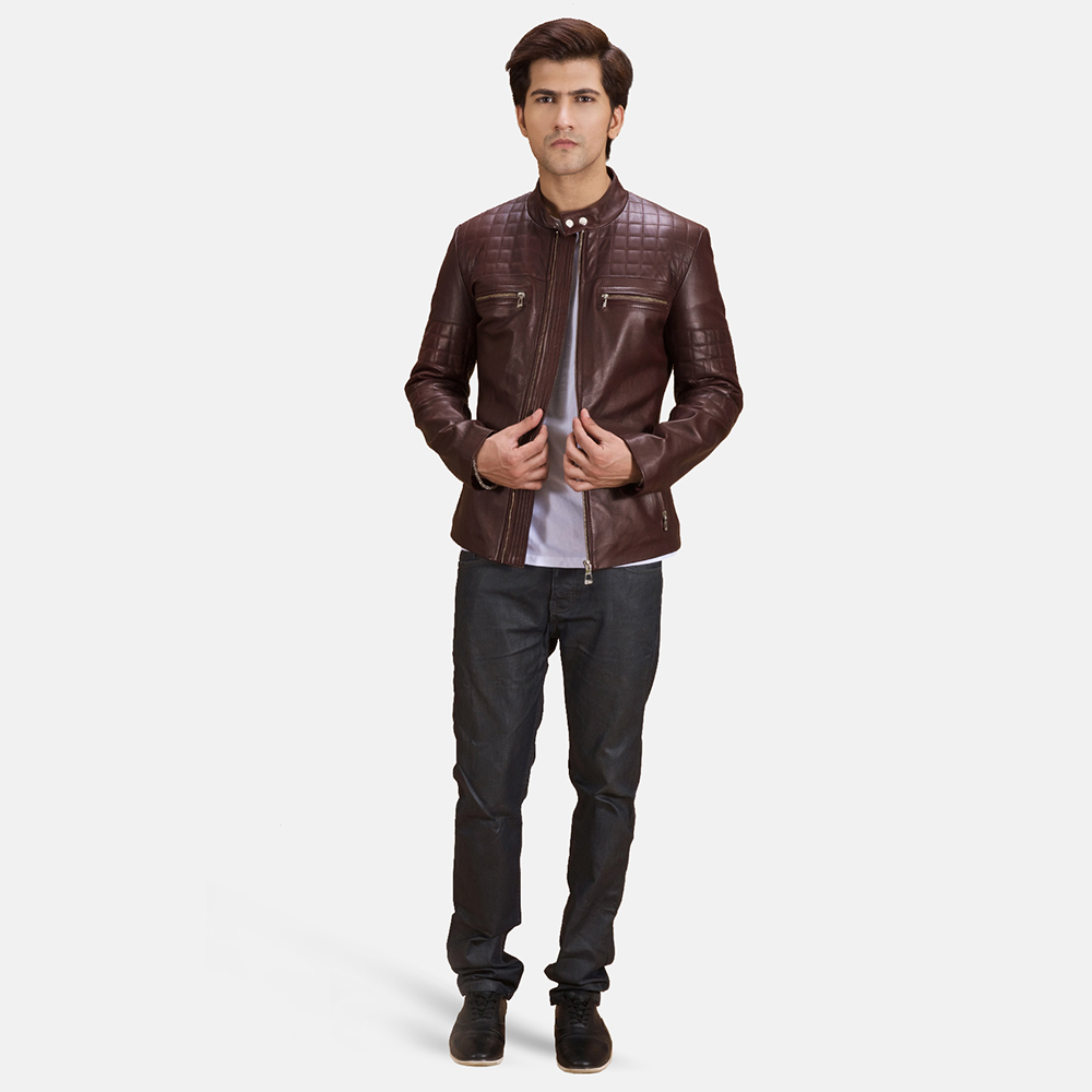 Mens Urbane Quilted Maroon Leather Biker Jacket 2